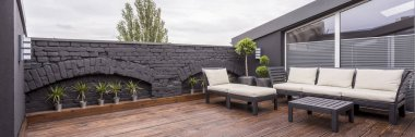 Rooftop terrace with wooden flooring