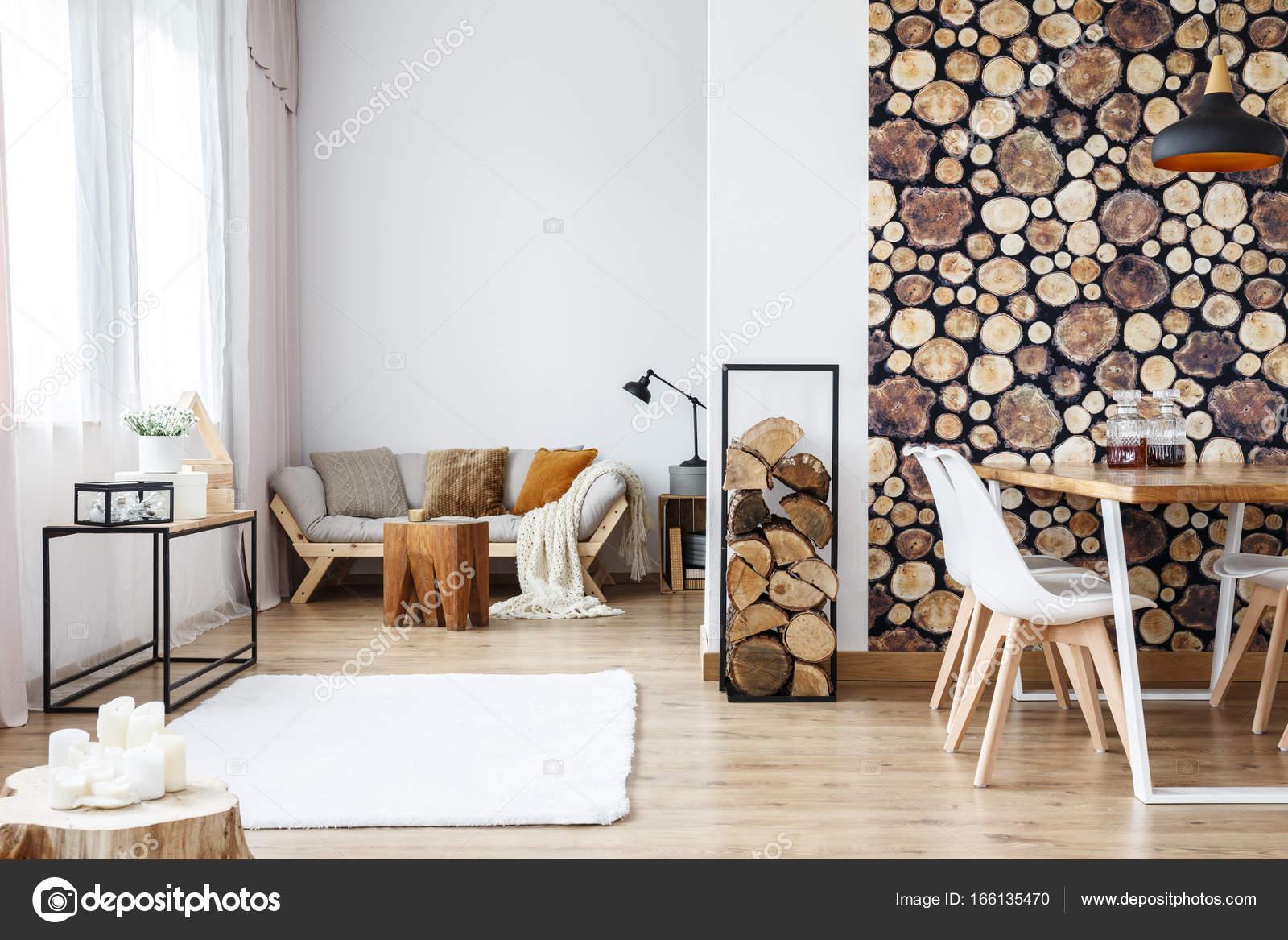 Apartment with wooden log wallpaper — Stock Photo © photographee.eu ...
