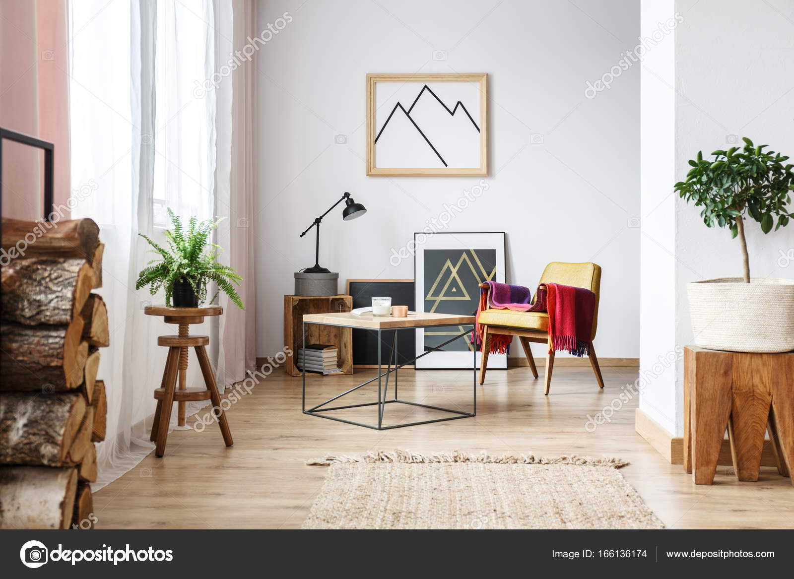 Sessel minimalistische poster und brennholz u2014 stockfoto