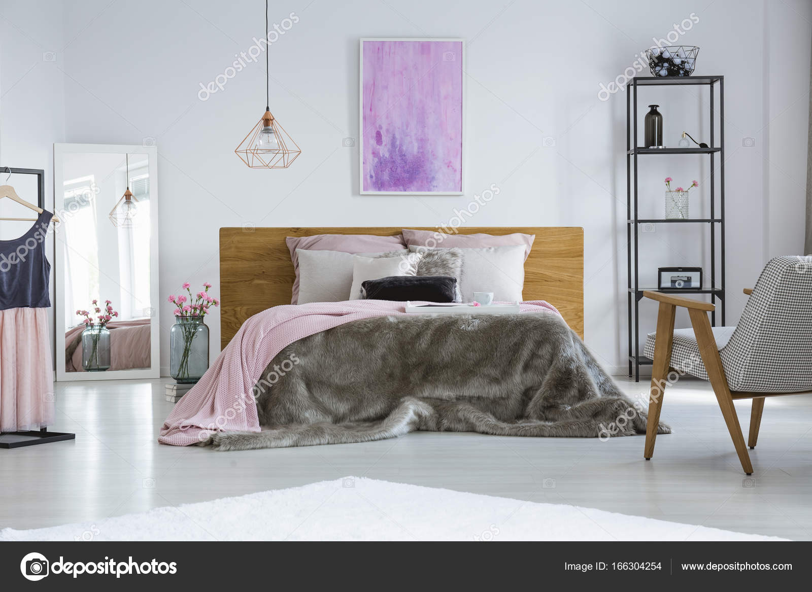 Pastel pink cushions in bedroom — Stock Photo © photographee ...