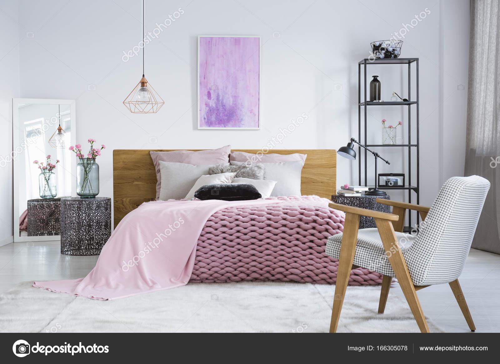 pastel slaapkamer met aquarel stockfoto
