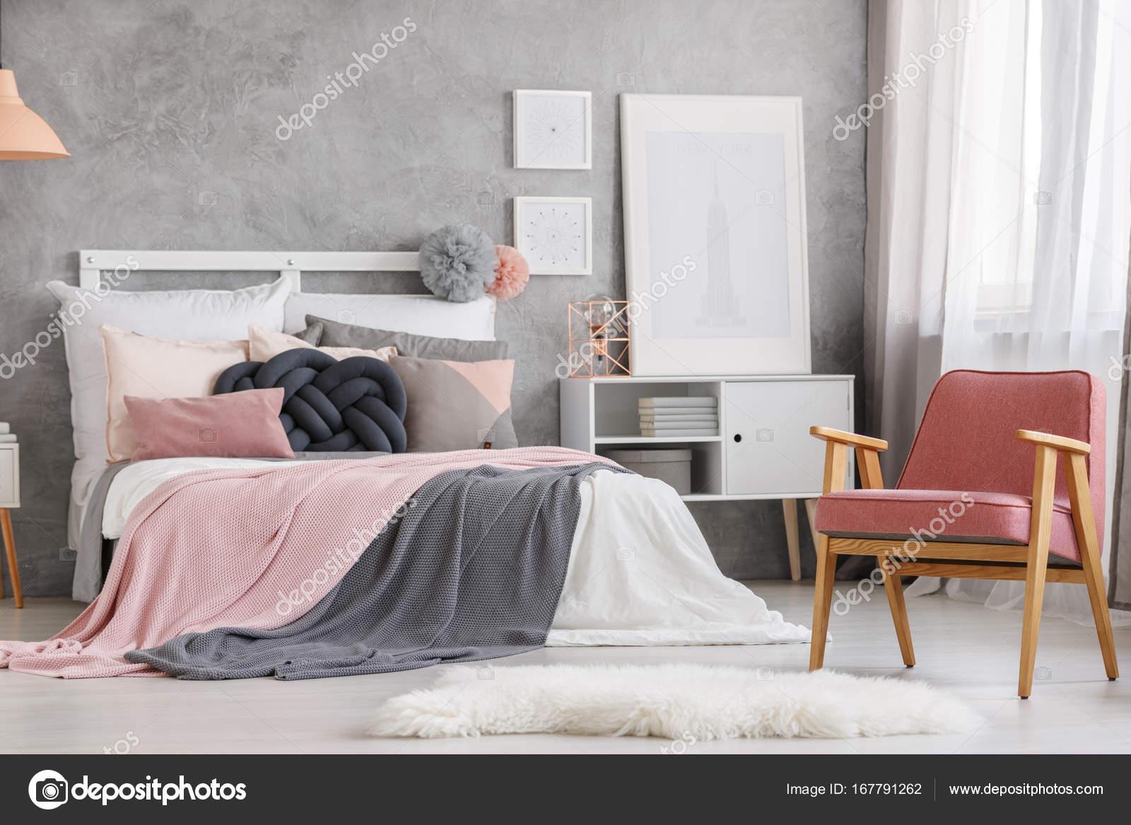 unieke pastel slaapkamer ontwerp stockfoto