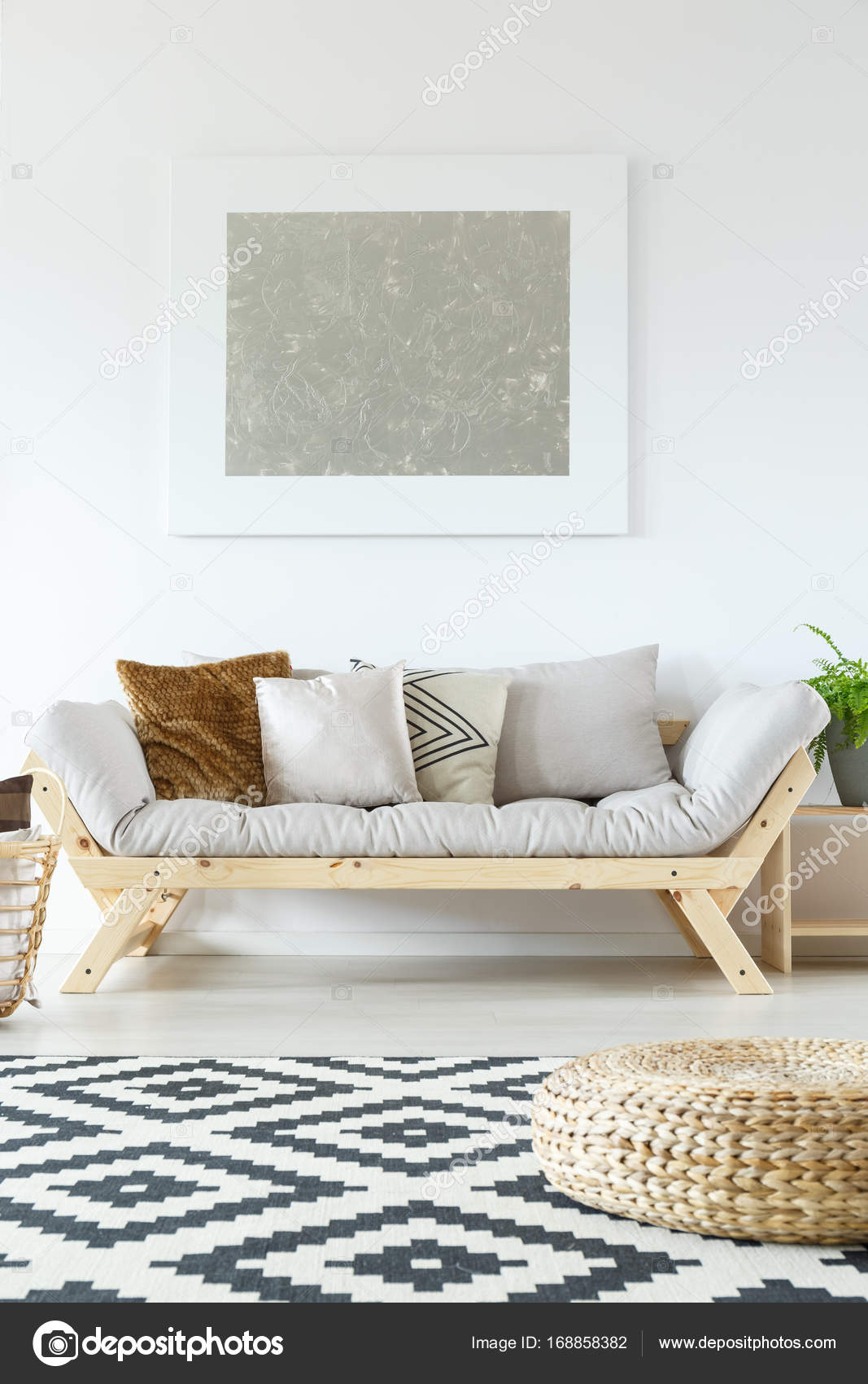 Living room with silver painting — Stock Photo © photographee.eu ...