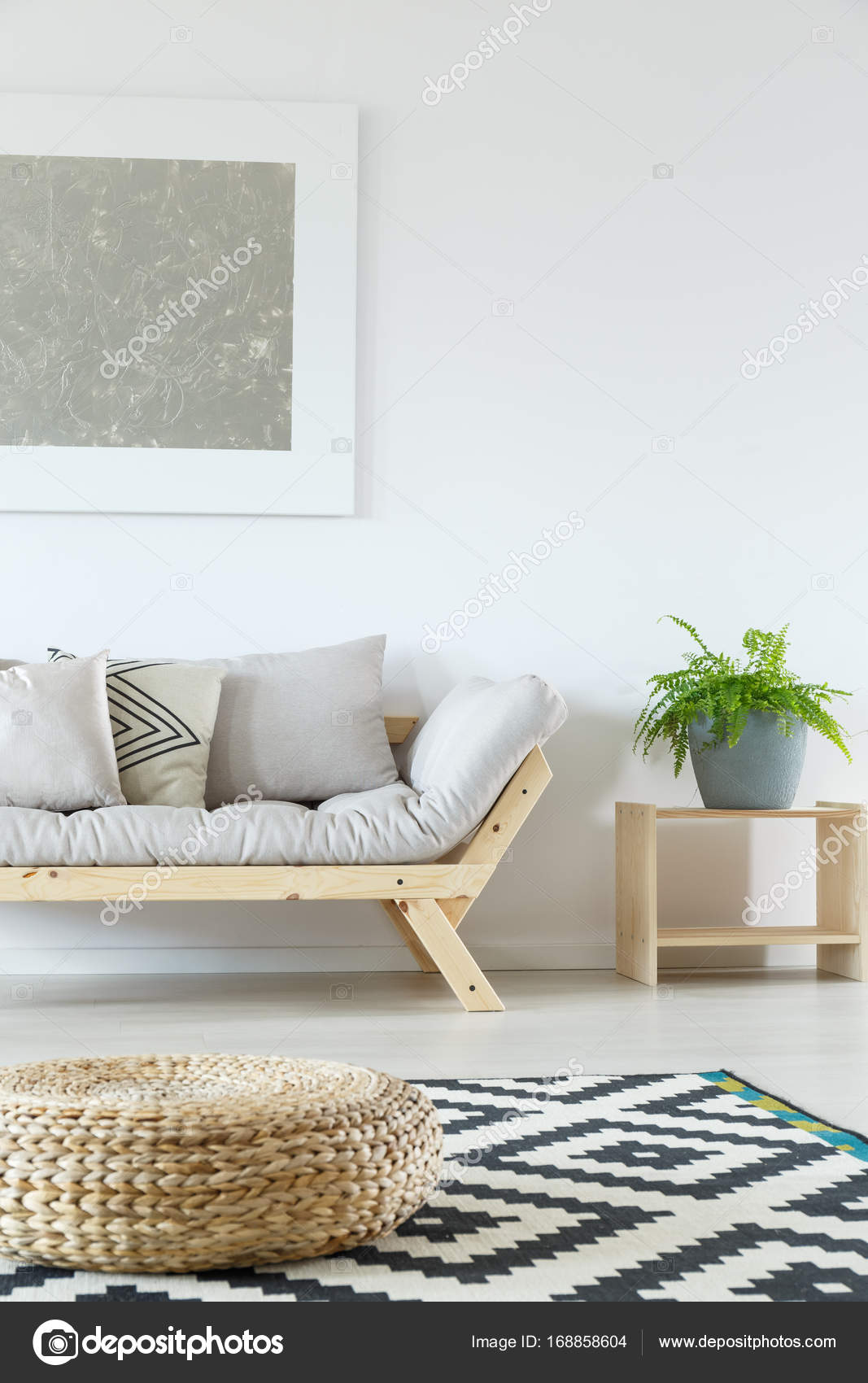 Minimalist living room with pouf — Stock Photo © photographee.eu ...