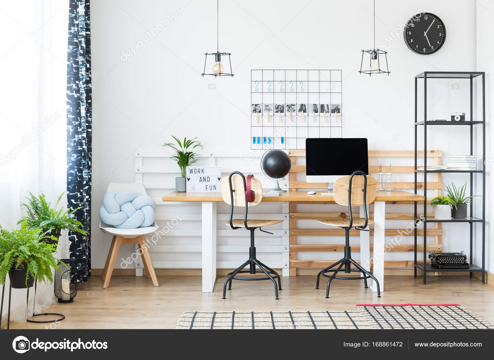 Braided blue pillow on designed stool in bright workplace with two chairs at wooden table u2014 Photo by photographee.eu & Bright workplace with two chairs u2014 Stock Photo © photographee.eu ...
