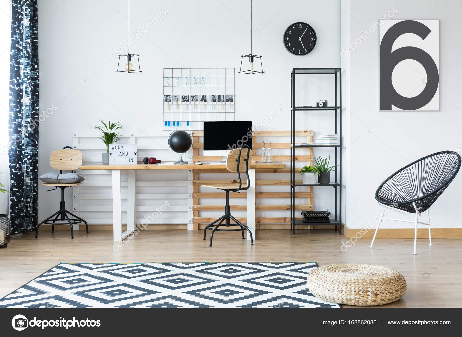 Braided Pouf On Clock And White Carpet In Hygge Style Home Office With  Designed Chair U2014 Photo By Photographee.eu