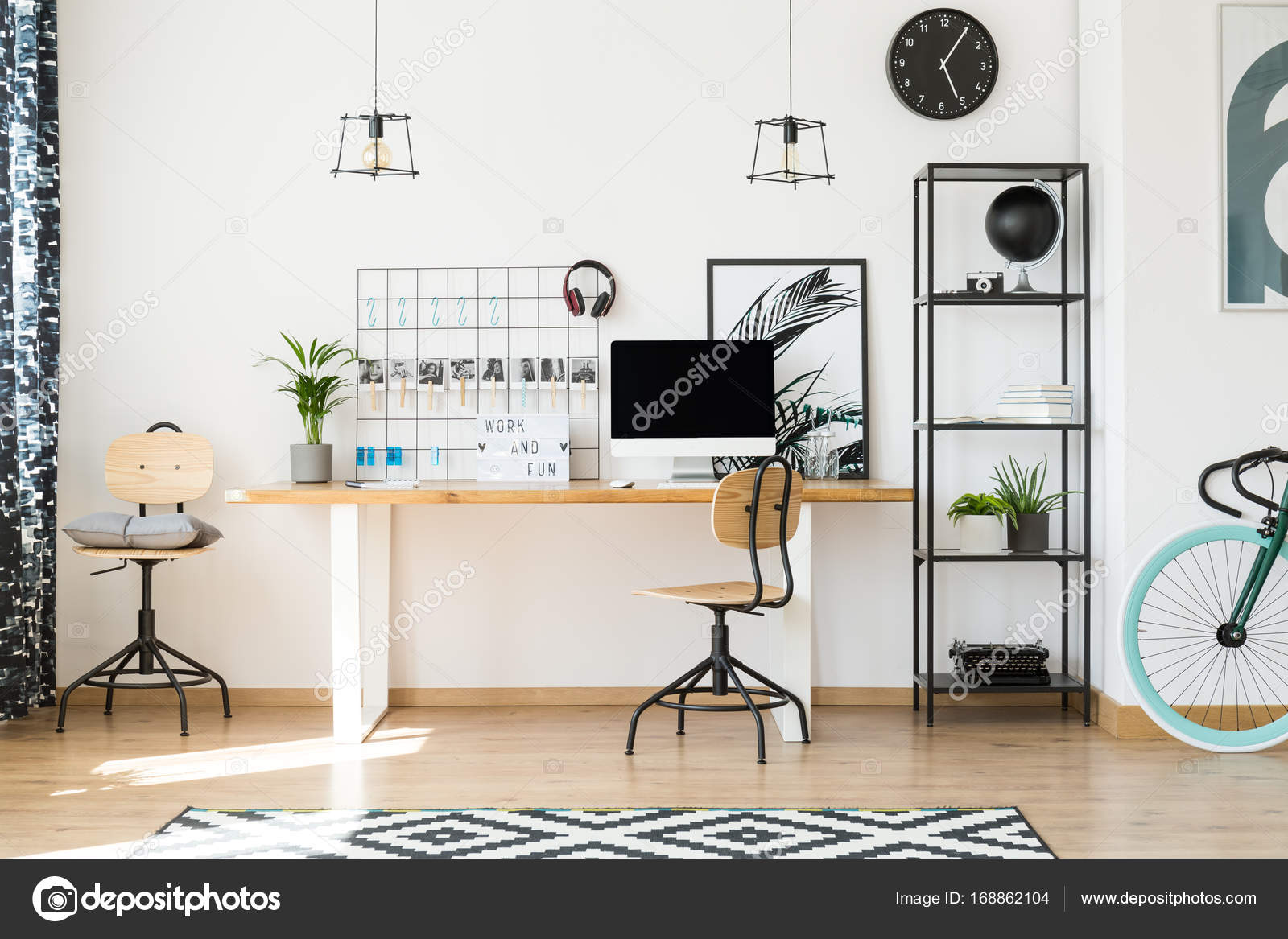 stylish home office chairs. stylish home office with bike \u2014 stock photo chairs e