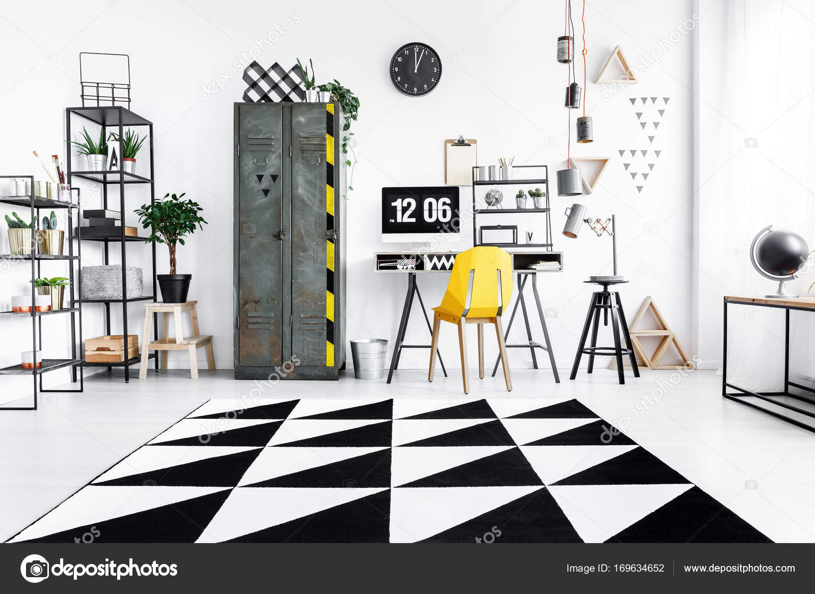 Geometric Carpet In Home Office U2014 Stock Photo
