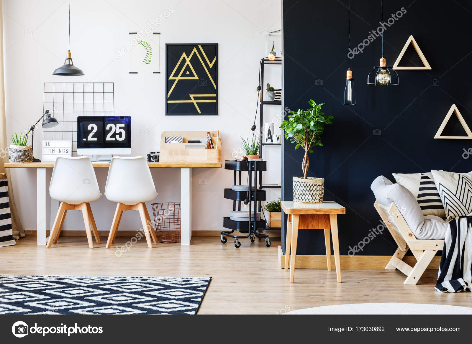 designer workspace with white chairs stock photo