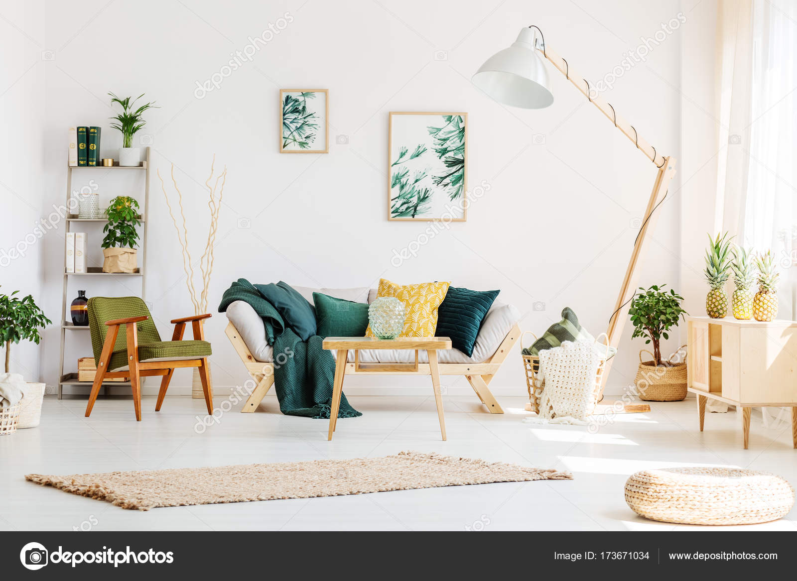 Green living room with pouf — Stock Photo © photographee.eu #173671034