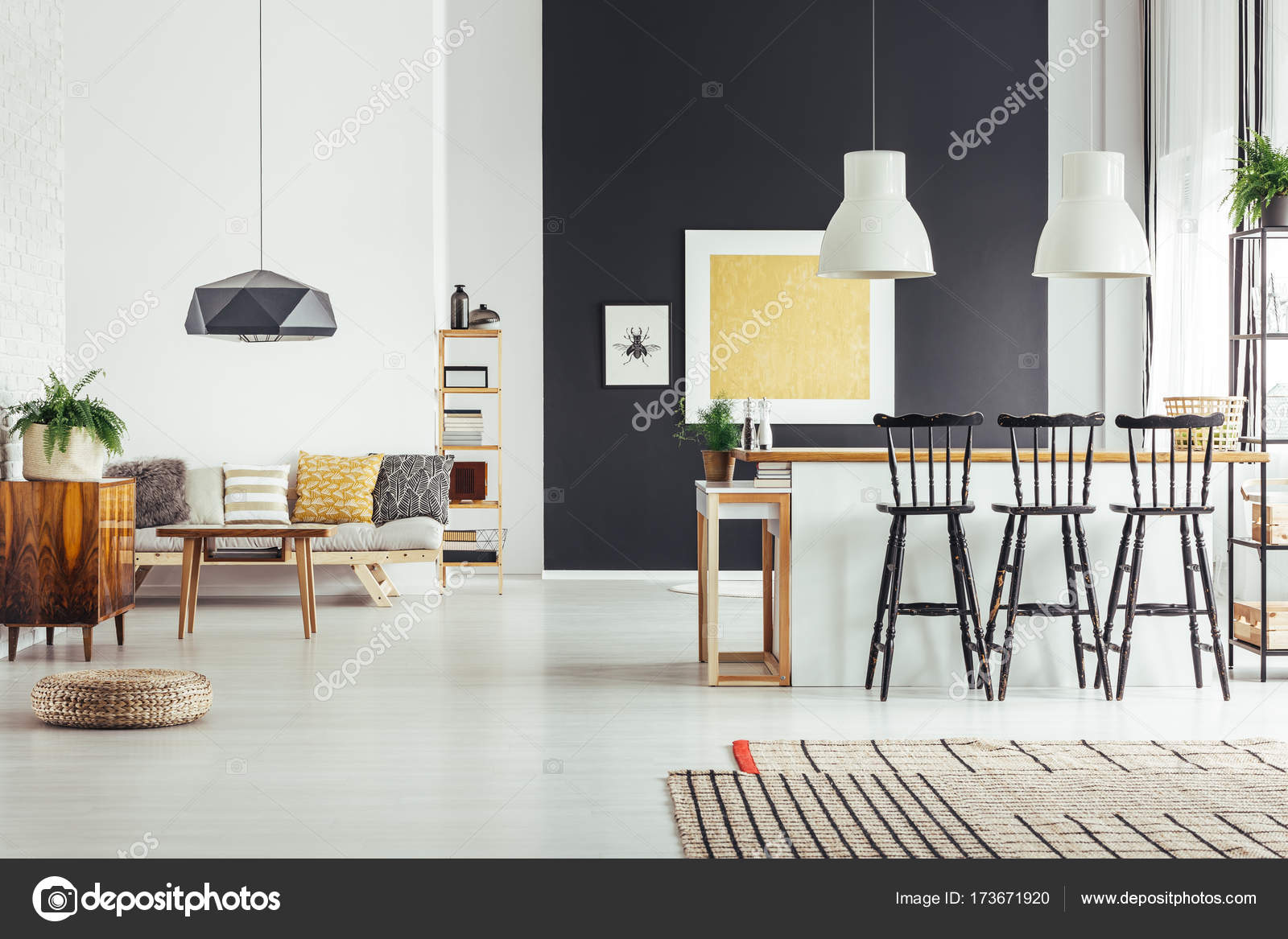 Cozy Living Room In Vintage Style With Rustic Bar Stools And Chic Black Lamp Photo By Photographeeeu