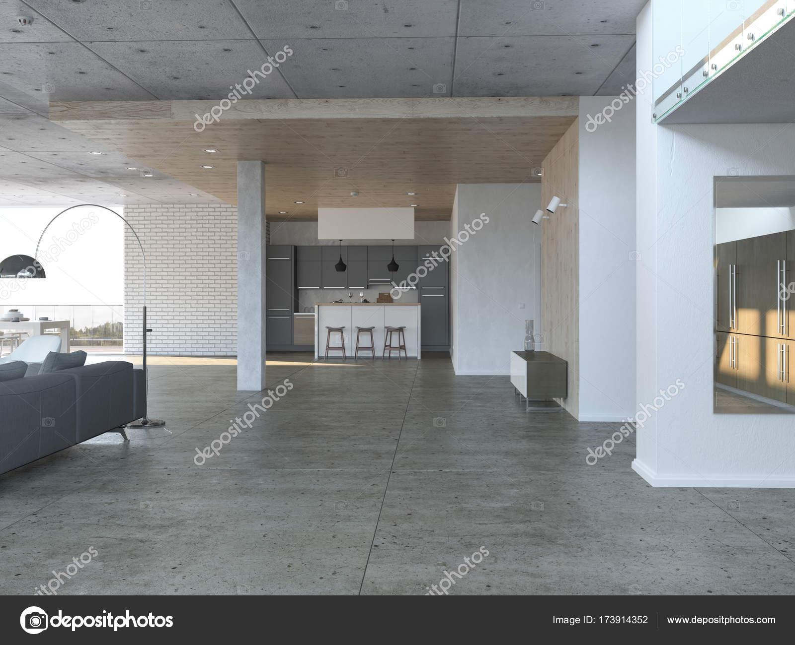 Salle de séjour avec cuisine ouverte — Photographie ...
