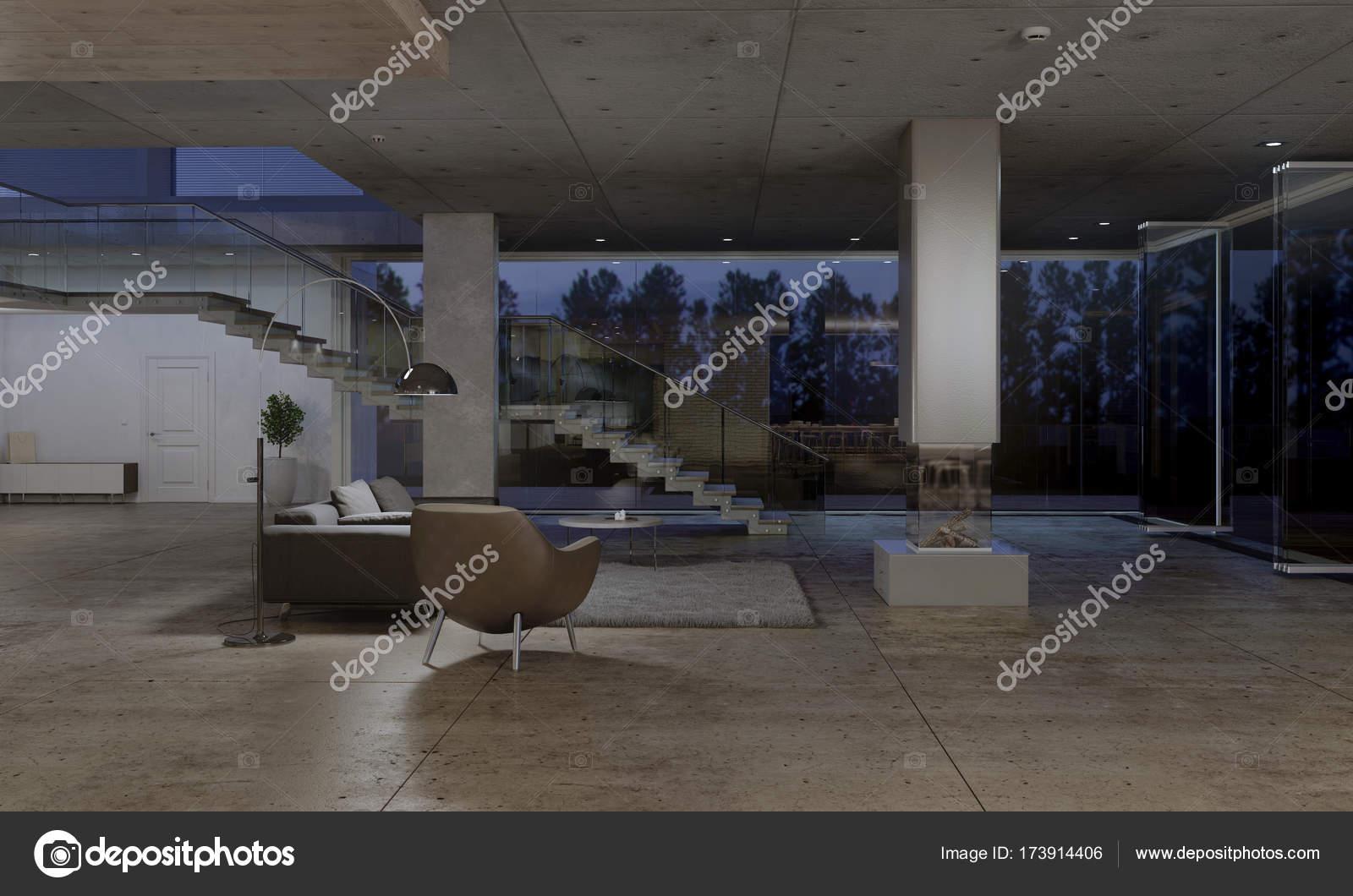 donkere woonkamer interieur met glazen deur en grote ramen die uitkijken op de tuin 3d rendering foto van photographeeeu