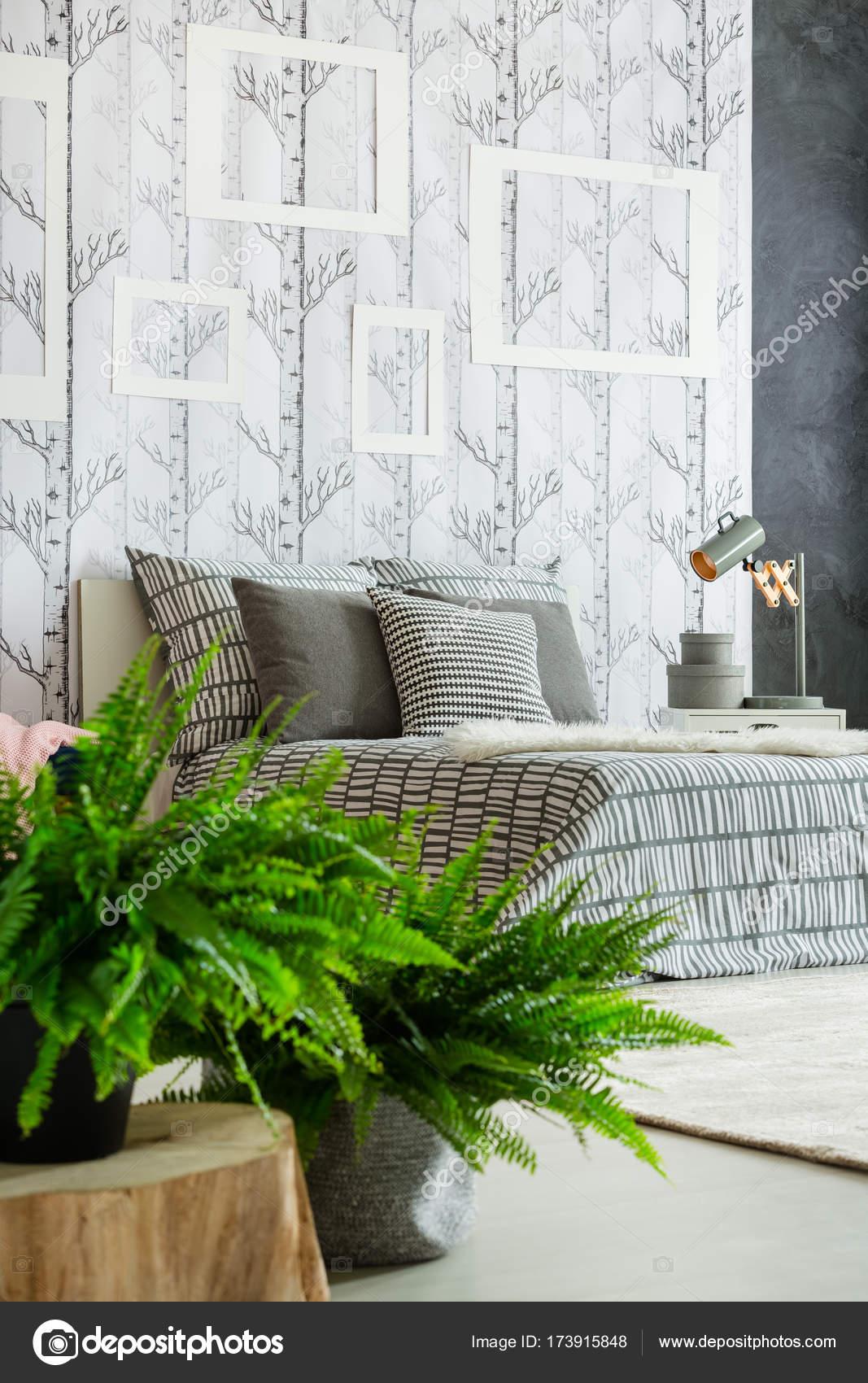 natuurlijke slaapkamer met varens stockfoto
