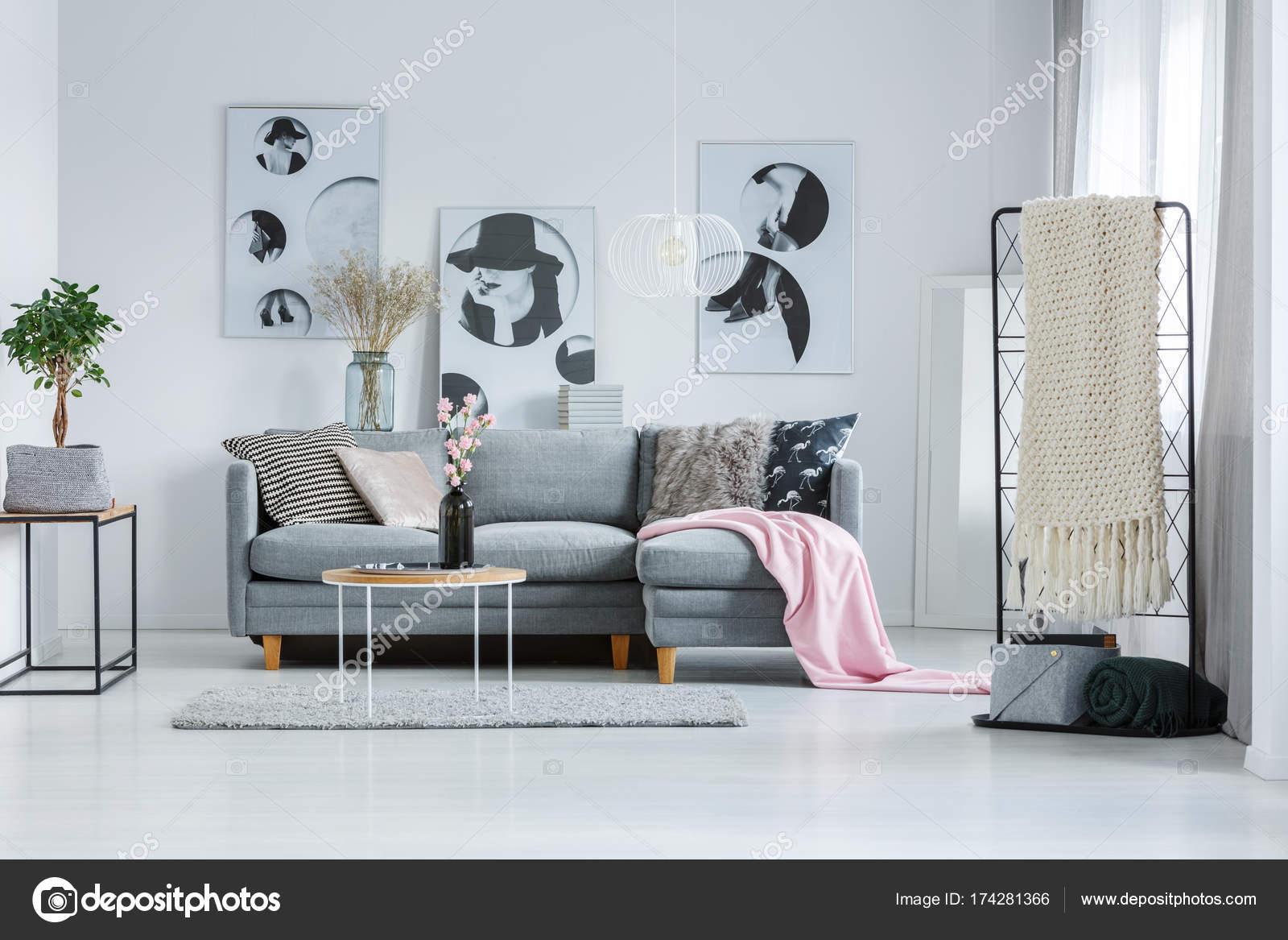Einzigartig Sofa Pastell Beste Wahl Zimmer Mit Grauen — Stockfoto
