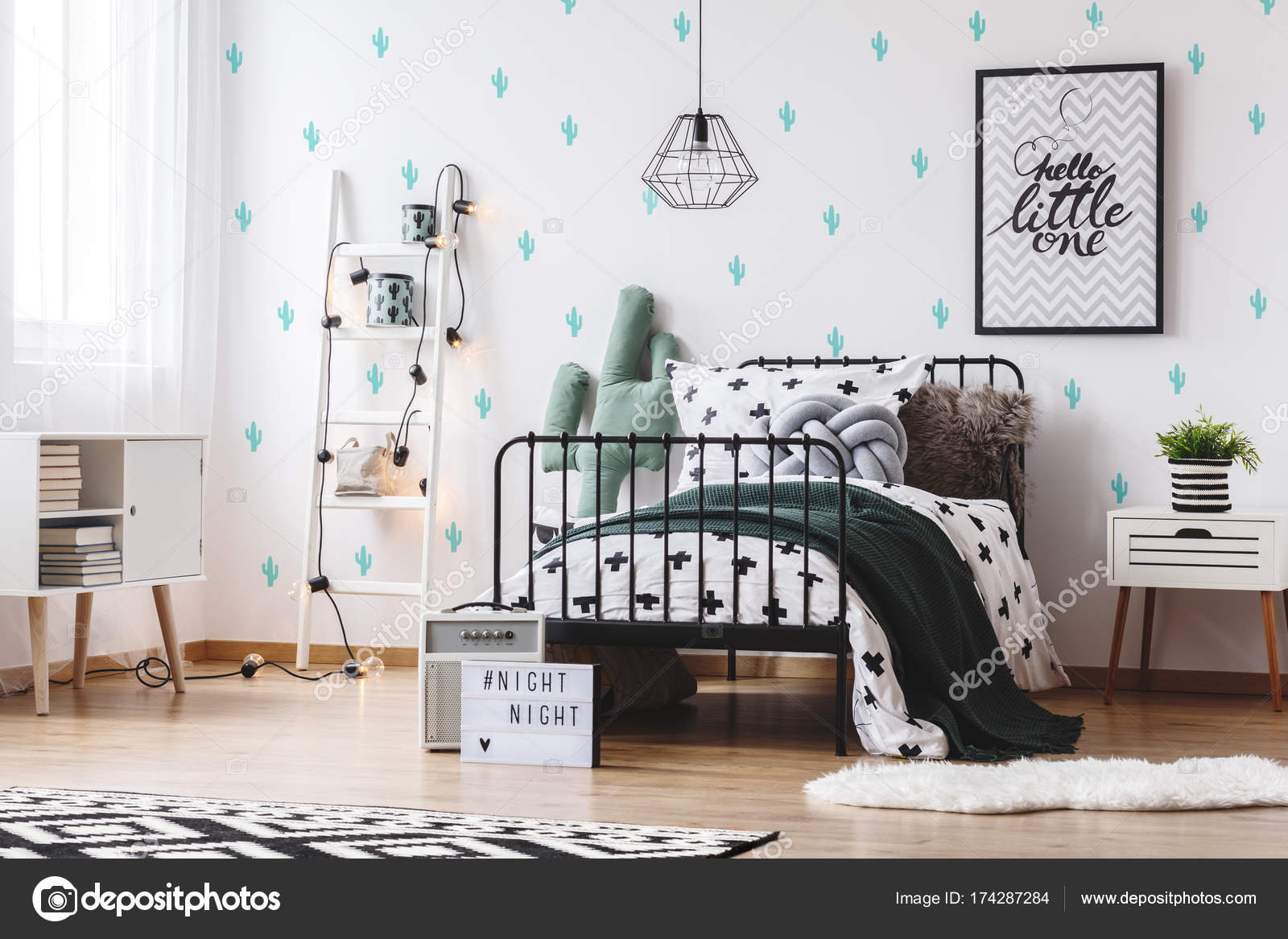 Wallpapers Cute Cactus Bedroom With Cute Cactus Wallpaper Stock Photo C Photographee Eu 174287284