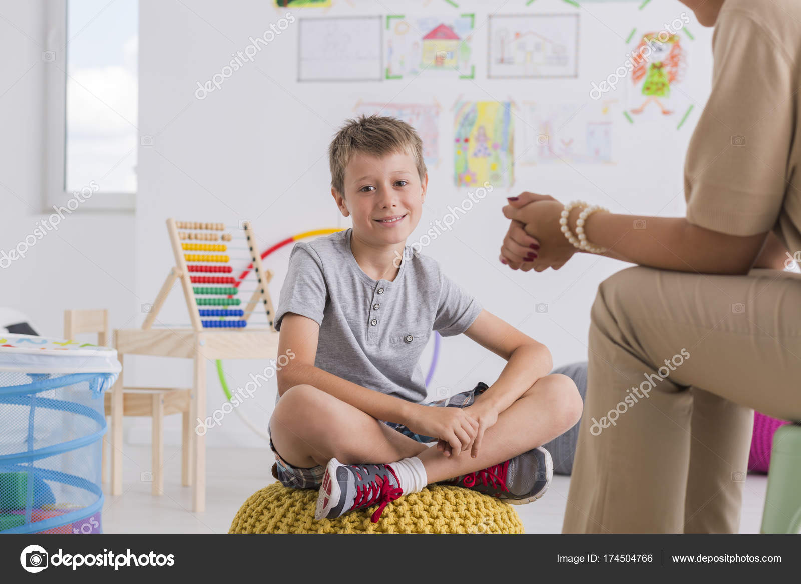Child psychologist concept, little boy — Stock Photo © photographee ...