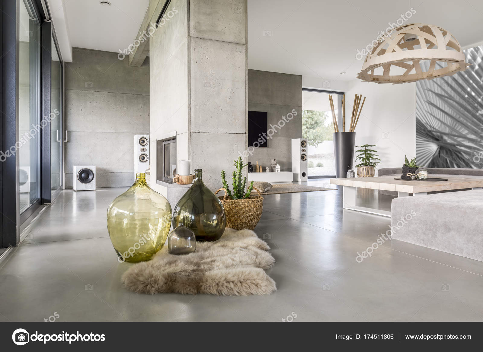 Big glass vases stock photo photographee 174511806 big decorative glass vases standing on soft rug placed next to potted plant photo by photographee reviewsmspy