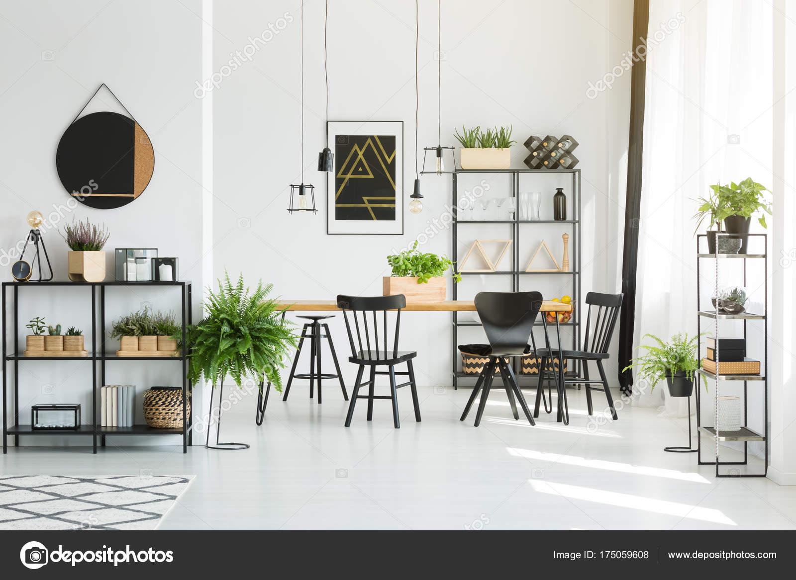 Schwarze Möbel Und Accessoires U2014 Stockfoto