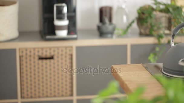 Close-up of woman making a healthy salad on wooden countertop with olive oil spices and mortar. Slide video.