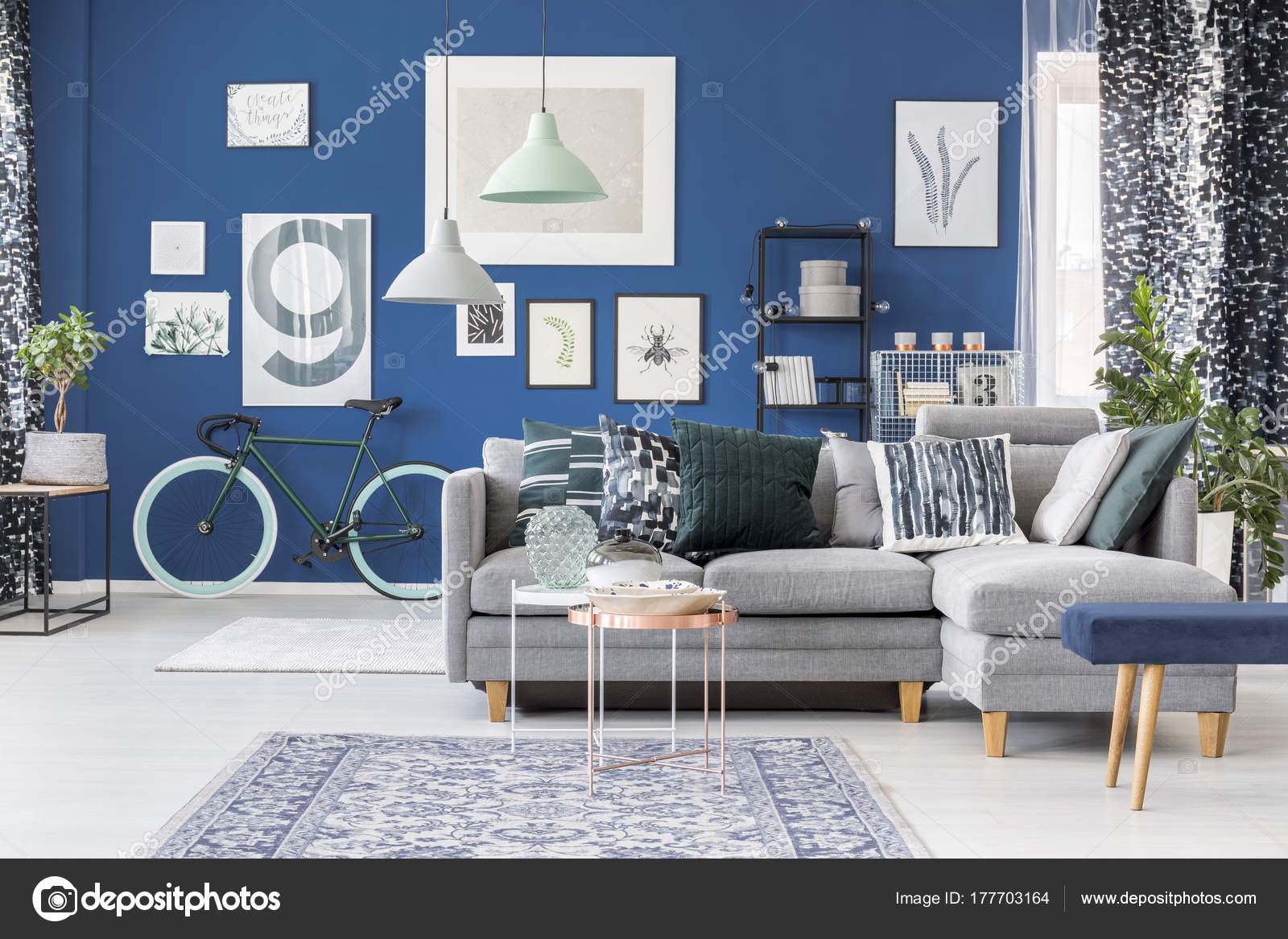 Blauen Wohnzimmer Stockfoto C Photographee Eu 177703164