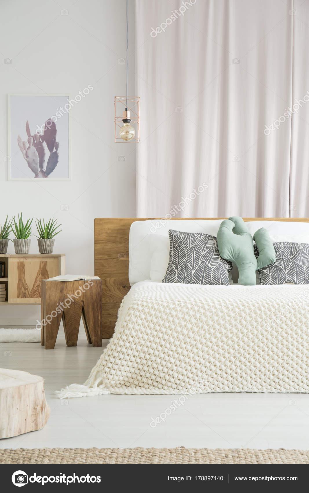 Kaktus-Kissen auf Kingsize-Bett — Stockfoto © photographee.eu #178897140