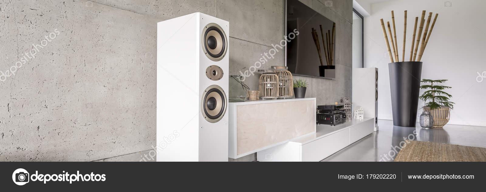 Weiße Lautsprecher in moderne Wohnzimmer — Stockfoto © photographee ...