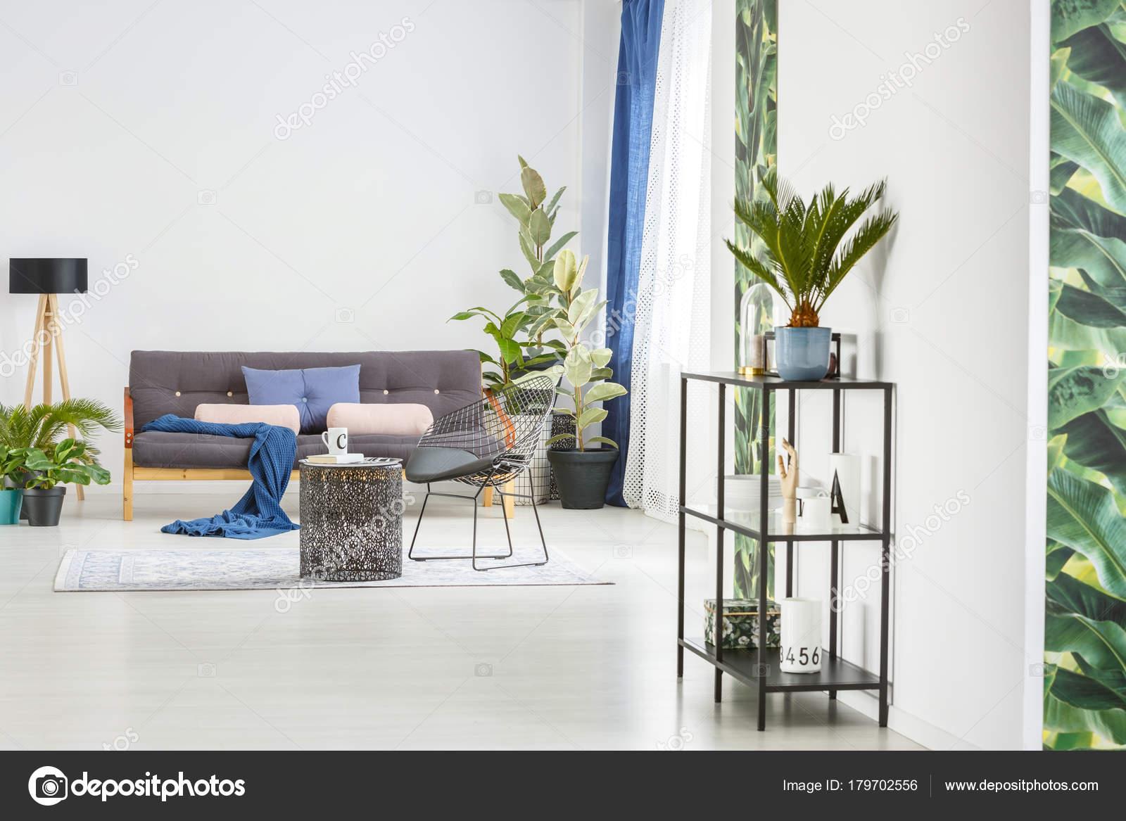 Blauwe Design Bank.Blauwe Deken Roze Kussens Zwarte Bank Buurt Van Een Lamp
