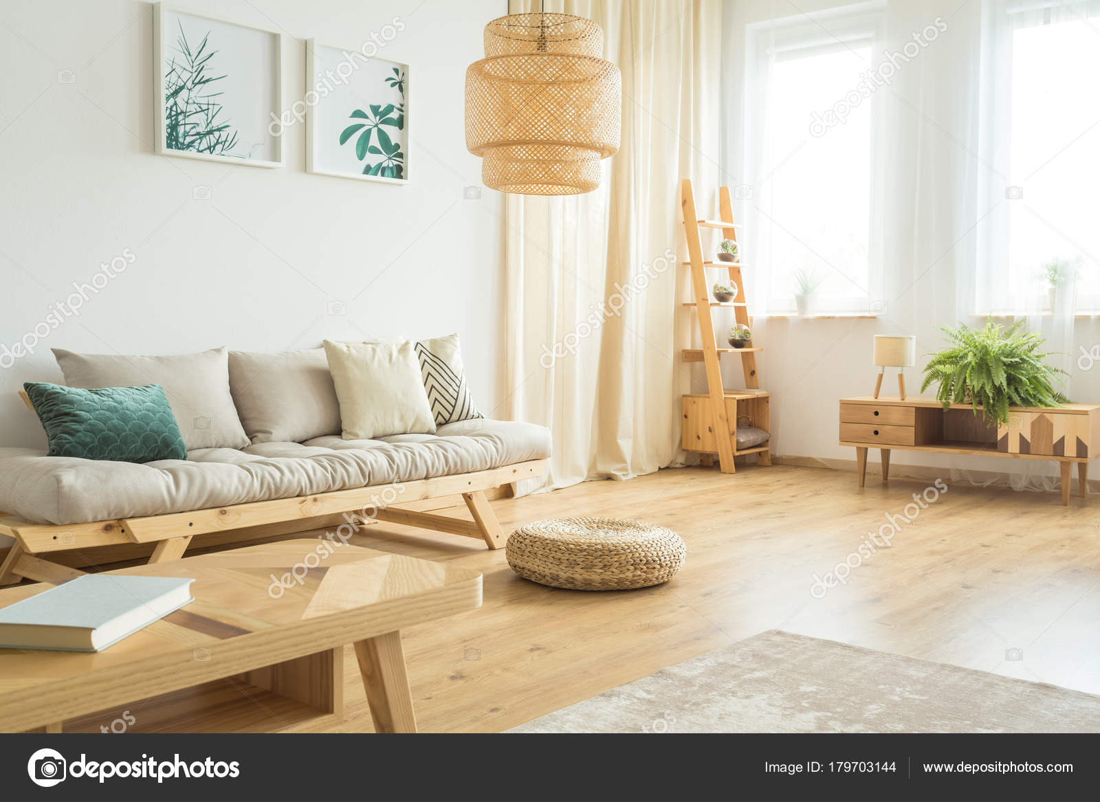 Plants posters hanging over sofa — Stock Photo © photographee.eu ...