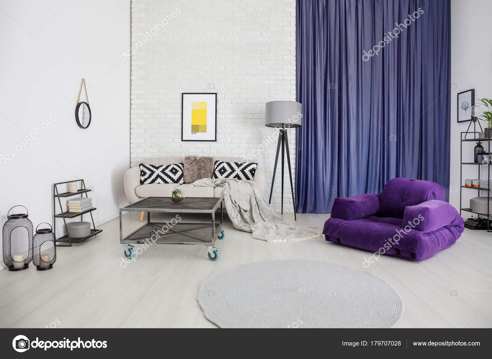 Living room with purple accents — Stock Photo © photographee.eu ...