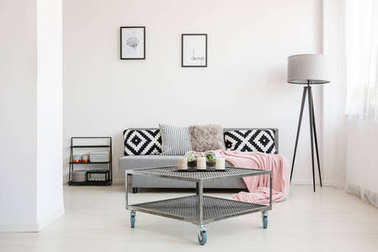 Industrial living room with table