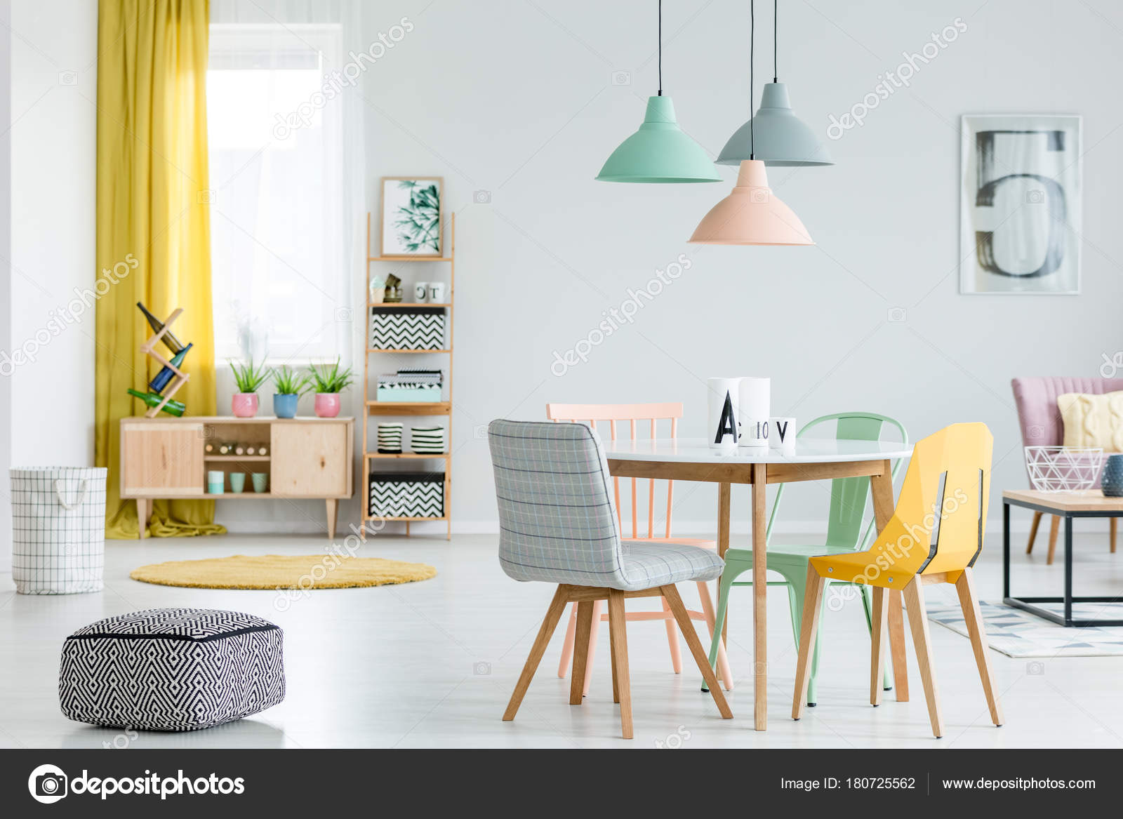Dining room with colorful chairs — Stock Photo ...