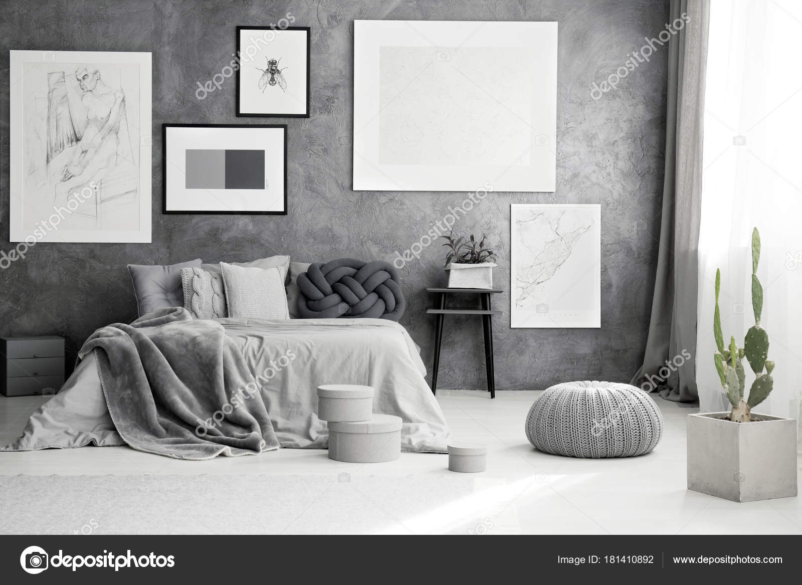 Cactus e pouf in camera da letto — Foto Stock © photographee.eu ...
