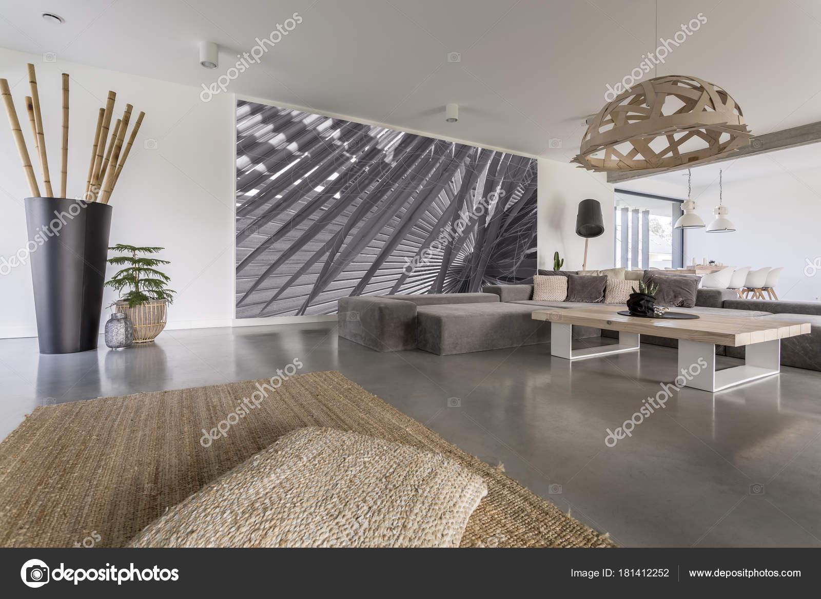 Salle de séjour avec peinture murale gris — Photographie ...
