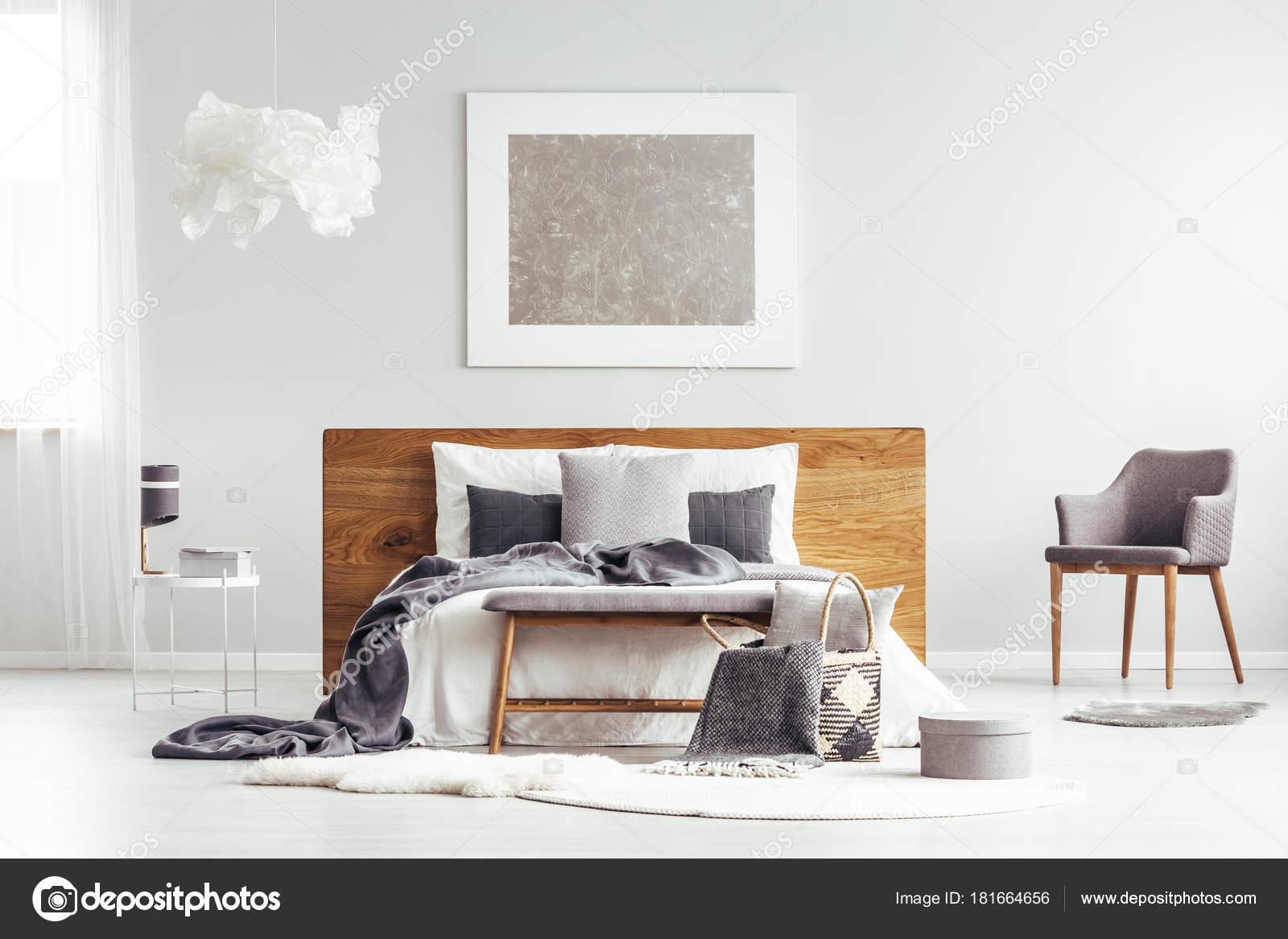 Interno camera da letto moderna grigio — Foto Stock ...