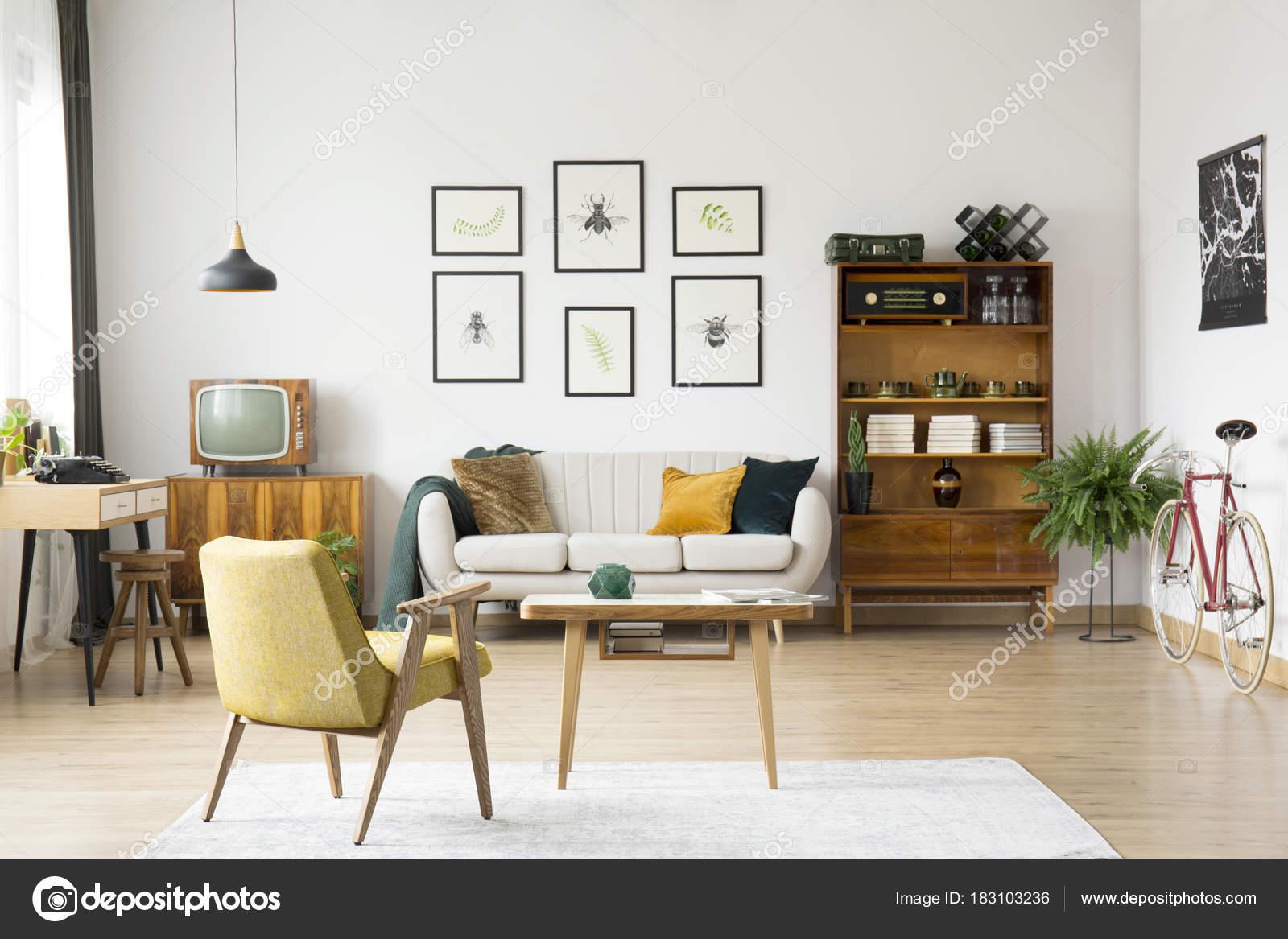 Salón retro con televisión — Foto de stock © photographee.eu #183103236