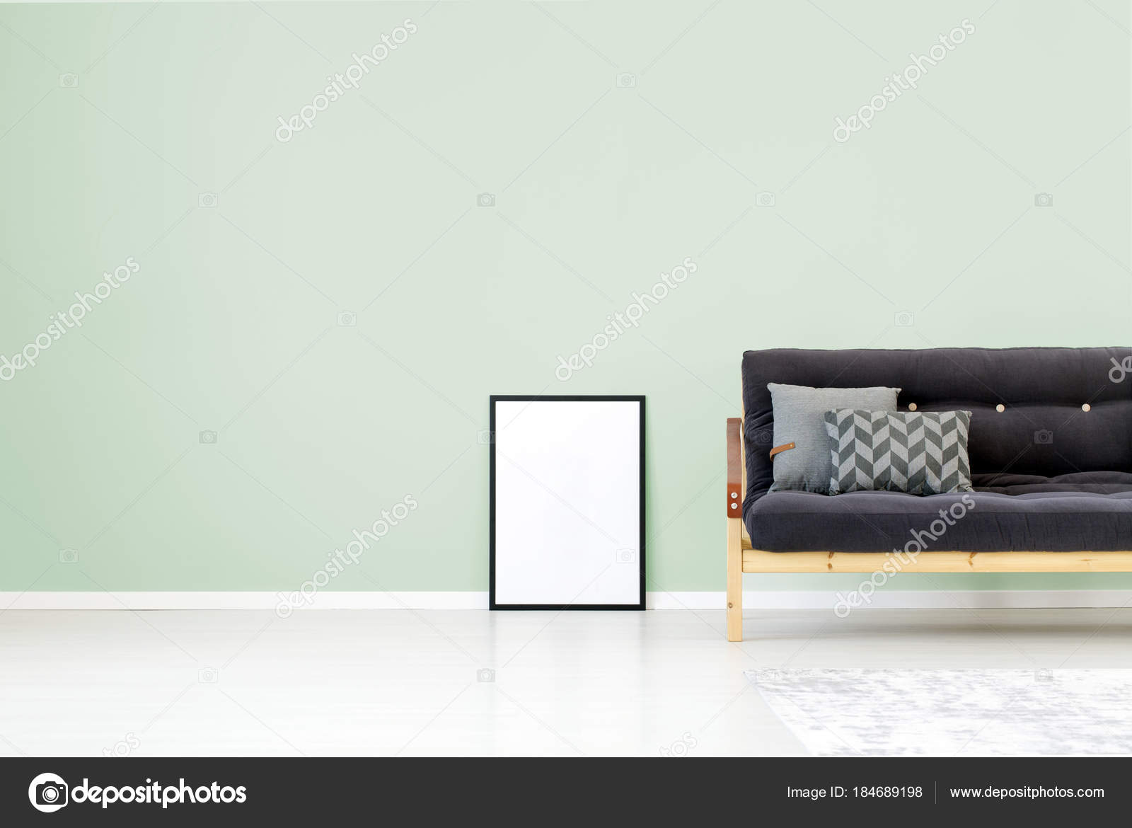 Green wall living room — Stock Photo © photographee.eu #184689198