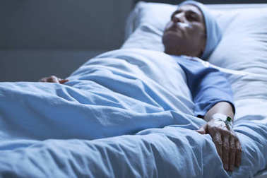 Dying woman in pain