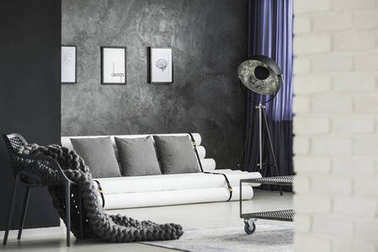Modern living room with posters