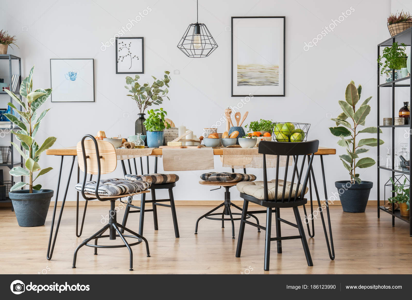 Chairs At Table In Cozy Dining Room Interior With Ficus, Lamp And Gallery  Of Posters On White Wall U2014 Photo By Photographee.eu