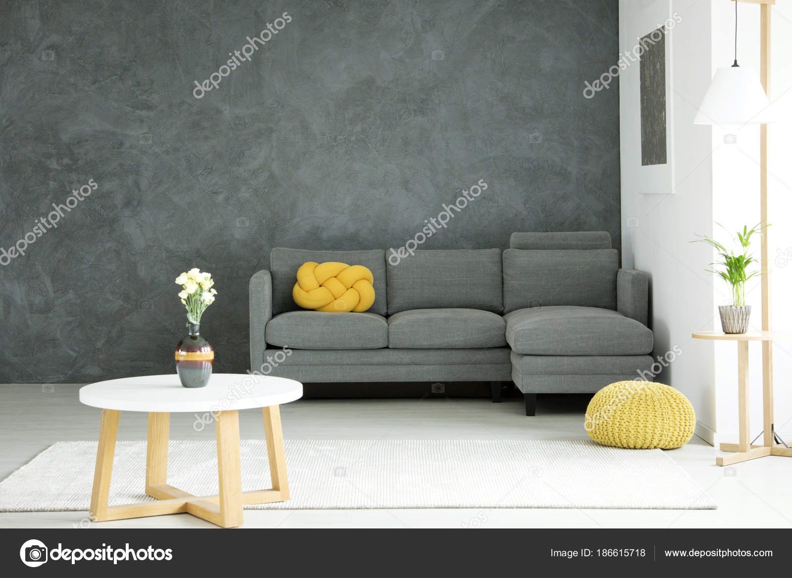 Grey And Yellow Living Room Stock Photo Image By C Photographee Eu 186615718