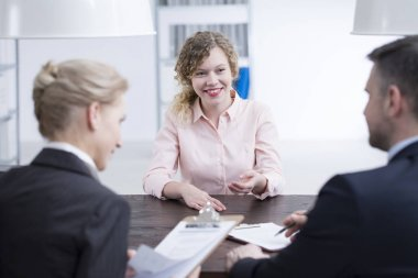 Girl talking to employers