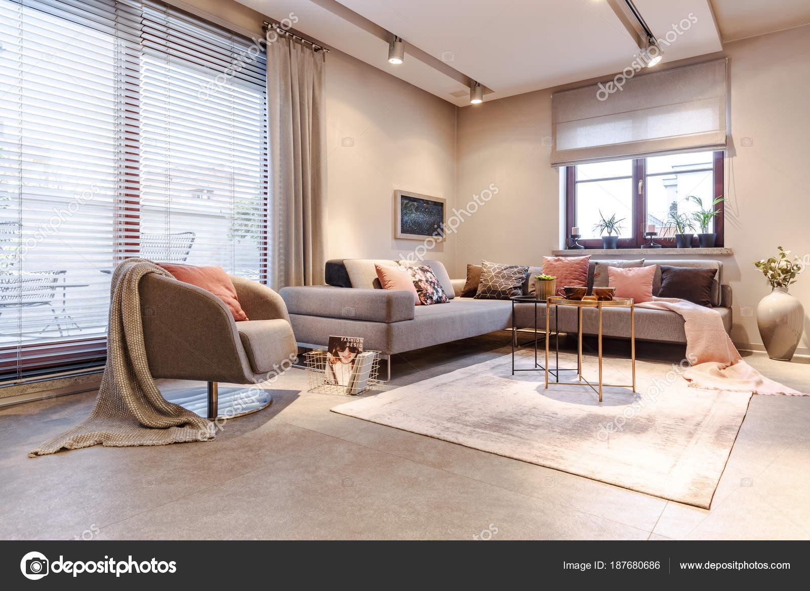 Ferienwohnung grau Interieur — Stockfoto © photographee.eu #187680686