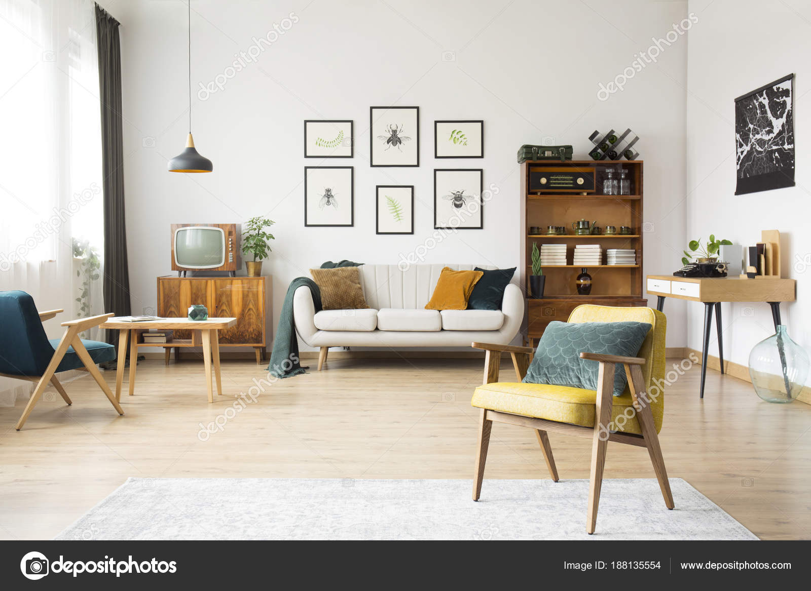 Retro woonkamer interieur — Stockfoto © photographee.eu #188135554