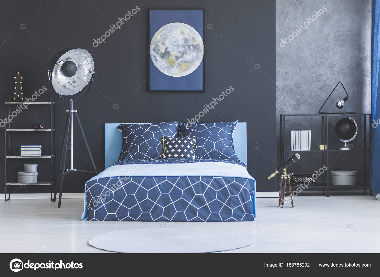 Interno camera da letto blu scuro — Foto Stock © photographee.eu ...