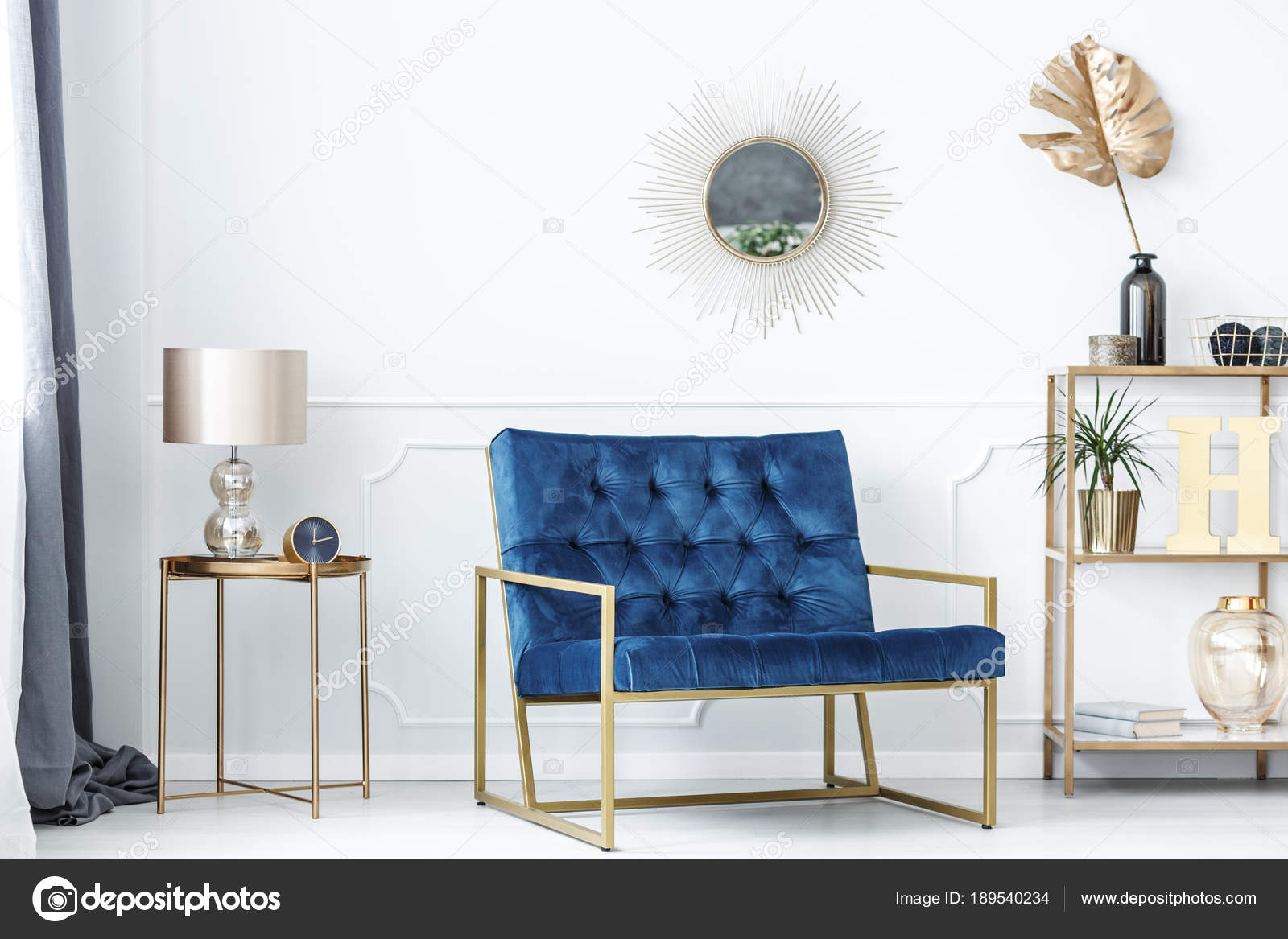Blue and gold living room — Stock Photo © photographee.eu #189540234