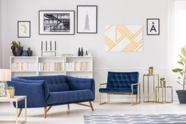 Art collection and sofa