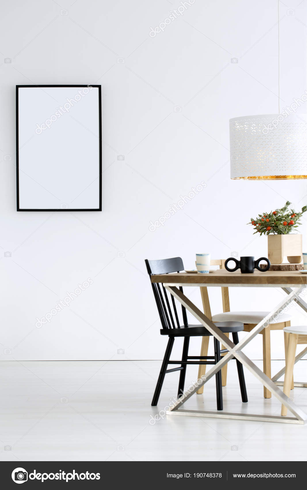 Black Chair At Table Under White Lamp In Minimalist Dining Room Interior  With Mockup Of Poster U2014 Photo By Photographee.eu