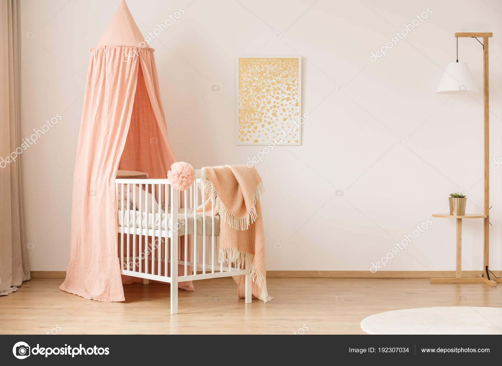 Abstract Painting On A White Wall Of A Minimalist Nursery Interior With A  Simple Crib, Peach Pink Canopy And A Floor Lamp U2014 Photo By Photographee.eu
