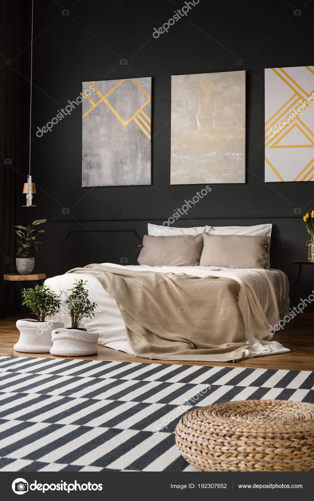 retro bedroom with carpet stock photo - Retro Bedroom